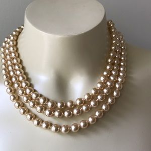Vintage Glass 3 Strand Pearl Bib Necklace